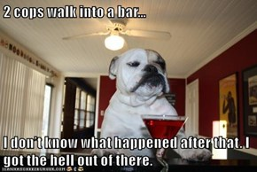 2 cops walk into a bar…   I don't know what happened after that. I got the hell out of there.