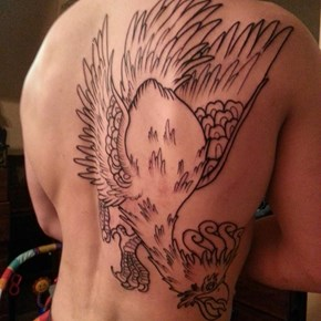 Look at This Guy's Giant Ho-Oh Tattoo