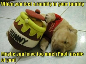 When you feel a rumbly in your tumbly  Maybe you have too much Pooh inside of you!