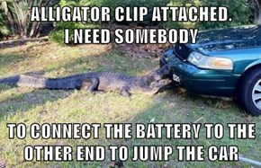 ALLIGATOR CLIP ATTACHED.               I NEED SOMEBODY  TO CONNECT THE BATTERY TO THE OTHER END TO JUMP THE CAR