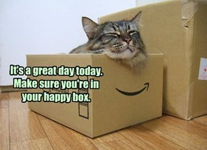 It's a great day today. Make sure you're in your happy box.