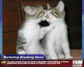 Marketing Breaking News - The most popular image for Sylvia's Sleepytime Fleece Blankies is Stewie Bellbottoms giving mouf-to-moufs to Foofany!, says Krafty Katt.