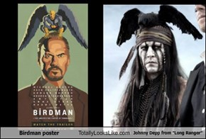 "Birdman poster Totally Looks Like Johnny Depp from ""Long Ranger"""