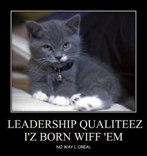 LEADERSHIP QUALITEEZ  I'Z BORN WIFF 'EM