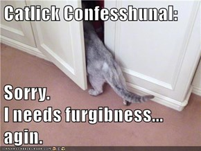 Catlick Confesshunal:       Sorry.                                             I needs furgibness...                                          agin.
