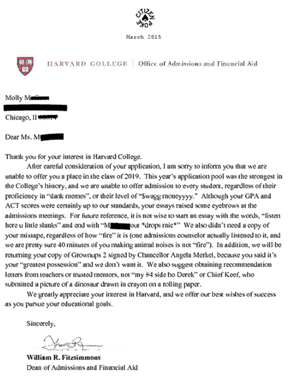 Harvard Rejection Letters Are Rough