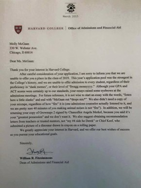 Did Harvard Reject the Best College Application Ever?