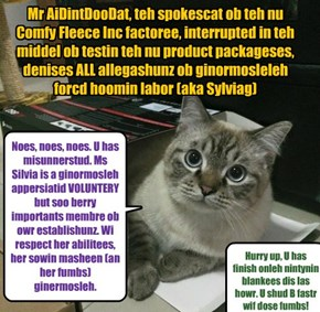 Mr AiDintDooDat, teh spokescat ob teh nu Comfy Fleece Inc factoree, interrupted in teh middel ob testin teh nu product packageses, denises ALL allegashunz ob ginormosleleh forcd hoomin labor (aka Sylviag)