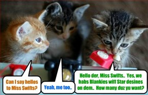 BREAKING NEWS - Krafty Katt sets up a high tech Call Center to handle teh many phone call orders for Sylvia's Sleepytime Fleece Blankies.. Here we see Tiny Tina taking a call from Superstar Singer Taylor Swift for her two kitties!