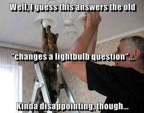 "Well, I guess this answers the old  ""changes a lightbulb question""... Kinda disappointing, though..."