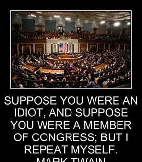 SUPPOSE YOU WERE AN IDIOT, AND SUPPOSE YOU WERE A MEMBER OF CONGRESS; BUT I REPEAT MYSELF. MARK TWAIN  READ MORE AT HTTP://WWW.BRAINYQUOTE.COM/QUOTES/AUTHORS/M/MARK_TWAIN.HTML#KUQGJCI480XTOSLF.99