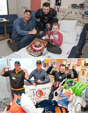 Chris Evans and Chris Pratt Finish Their Super Bowl Bet at Seattle Children's Hospital
