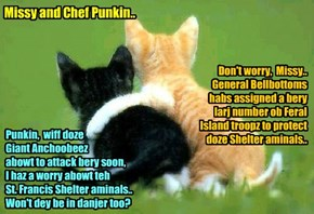 KKPS/Anchoobee War: Chef Punkin comforts an' reassures hiz much loved mate Missy..