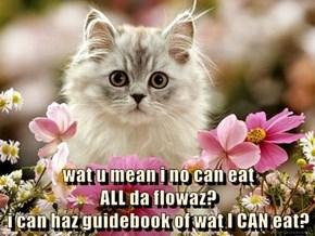 wat u mean i no can eat                                               ALL da flowaz?                                                                                        i can haz guidebook of wat I CAN eat?