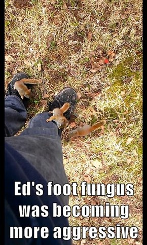 Ed's foot fungus was becoming more aggressive