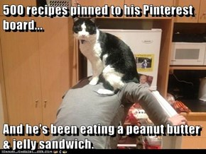 500 recipes pinned to his Pinterest board...  And he's been eating a peanut butter & jelly sandwich.