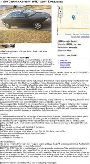 If This Craigslist Ad Can't Sell a Chevy Cavalier, Nothing Will