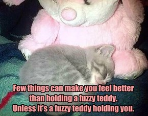 Few things can make you feel better than holding a fuzzy teddy. Unless it's a fuzzy teddy holding you.