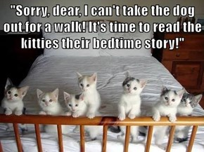 """Sorry, dear, I can't take the dog out for a walk! It's time to read the kitties their bedtime story!"""