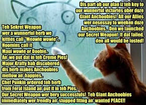 KCAT BREAKING NEWS - KKPS and Allies defeat Giant Anchoobies at BeaverDam! General Bellbottoms draws Ninja Battle Diagram of teh enormous victory for reporters! an' also describes teh Sekret Weapon used aginst teh Anchoobies!