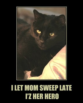I LET MOM SWEEP LATE  I'Z HER HERO
