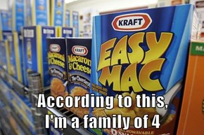 According to this,                              I'm a family of 4