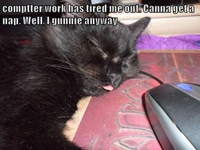 comptter work has tired me out. Canna get a nap. Well, I gunnie anyway