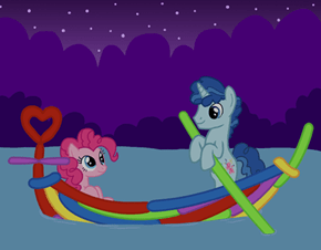 Pinkie and Party Poling Across the Placid Pond