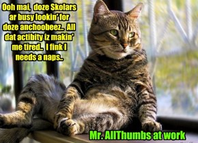 KKPS Great Anchoobee Hunt: While working bery hard by planning how best to ask Principal Dontebanfinkaboutit for a raise, KKPS Maintenance Kittie Mr. AllThumbs notices som Skolars scurrying around outside..