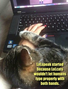 LoLspeak started because LoLcats wouldn't let humans type properly with both hands.