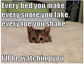 Every bed you make, every snore you fake, every toe you shake  I'll be watching you