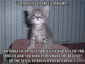 """""""SO, LET ME GET THIS STRAIGHT ...  YOU WOKE ME UP JUST TO KISS ME AND TELL ME YOU LOVE ME AND YOU DIDN'T EVEN HAVE THE DECENCY OR THE SENSE TO BREW A POT OF COFFEE?"""""""