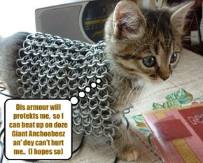 KKPS Great Anchoobee Hunt: Tiny Tina iz bery fortunate to find som body armour in teh Costoom Room ob teh Theater Departments..