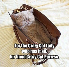 For the Crazy Cat Lady  who has it all: fur lined Crazy Cat Purrrse.