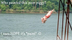 Who painted this poor piggy?  I sure HOPE it's *paint* :O
