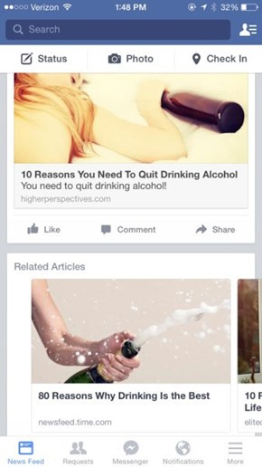 You're Sending Mixed Messages Facebook