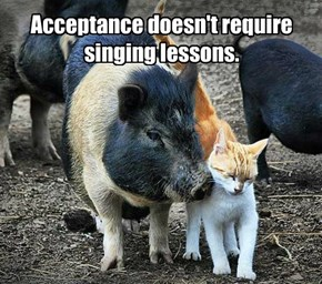 Acceptance doesn't require singing lessons.