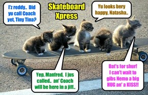 Ittie Bittie Skolars get on board teh Skateboard Xpress as dey wait for Coach Bellbottoms to gibs dem a big push an' a fast ride to teh Dormitory to congratulates Nemo an' Dooby an' der new fownd mama Sahara..