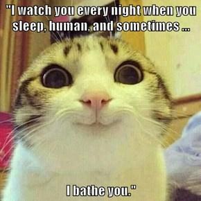 """""""I watch you every night when you sleep, human, and sometimes ...  I bathe you."""""""