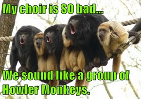 My choir is SO bad...  We sound like a group of Howler Monkeys.