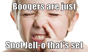 Boogers are just   Snot Jell-o that's set