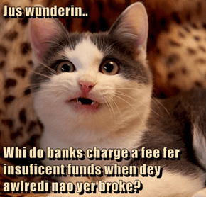 Jus wunderin..  Whi do banks charge a fee fer insuficent funds when dey awlredi nao yer broke?