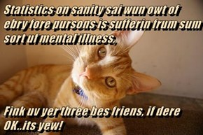 Statistics on sanity sai wun owt of ebry fore pursons is sufferin frum sum sort uf mental illness,    Fink uv yer three bes friens, if dere OK..its yew!