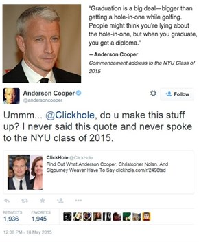Anderson Cooper Falls for the Oldest Trick in the Book of the Internet