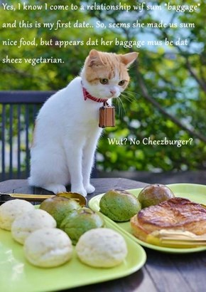 Yes, I know I come to a relationship wif sum *baggage* and this is my first date.. So, seems she made us sum nice food, but appears dat her baggage mus be dat sheez vegetarian.                                           Wut? No Cheezburger?