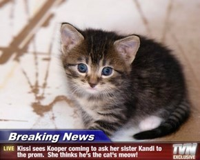 Breaking News - Kissi sees Kooper coming to ask her sister Kandi to the prom.  She thinks he's the cat's meow!