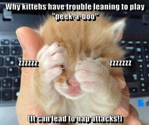 "Why kittehs have trouble leaning to play ""peek-a-boo"" zzzzzz                                                  zzzzzzz (It can lead to nap attacks!)"