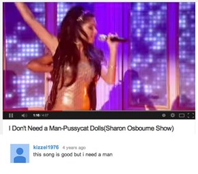 Sadness, in Youtube Comment Form