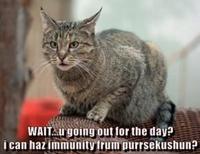 WAIT...u going out for the day?                                                          i can haz immunity frum purrsekushun?