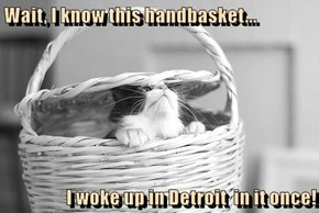 Wait, I know this handbasket...  I woke up in Detroit  in it once!